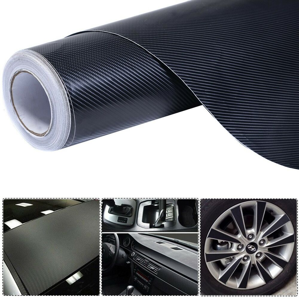 4d 5 39 x 100 39 carbon fiber vinyl wrap rolls motorcycle vehicle sticker black ebay. Black Bedroom Furniture Sets. Home Design Ideas