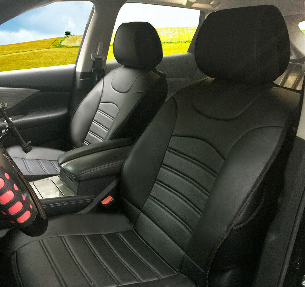 2 front auto car seat cover cushions leather like for. Black Bedroom Furniture Sets. Home Design Ideas