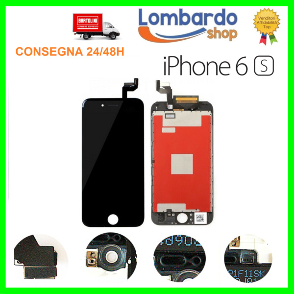 LCD PER APPLE IPHONE 6S NERO BLACK DISPLAY ORIGINALE TIANMA TOUCH SCREEN E FRAME