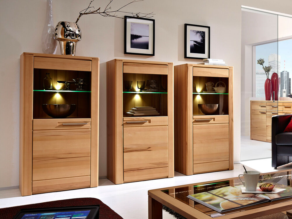 vitrine nature plus wohnzimmer schrank in kernbuche teilmassiv lackiert 3er set ebay. Black Bedroom Furniture Sets. Home Design Ideas