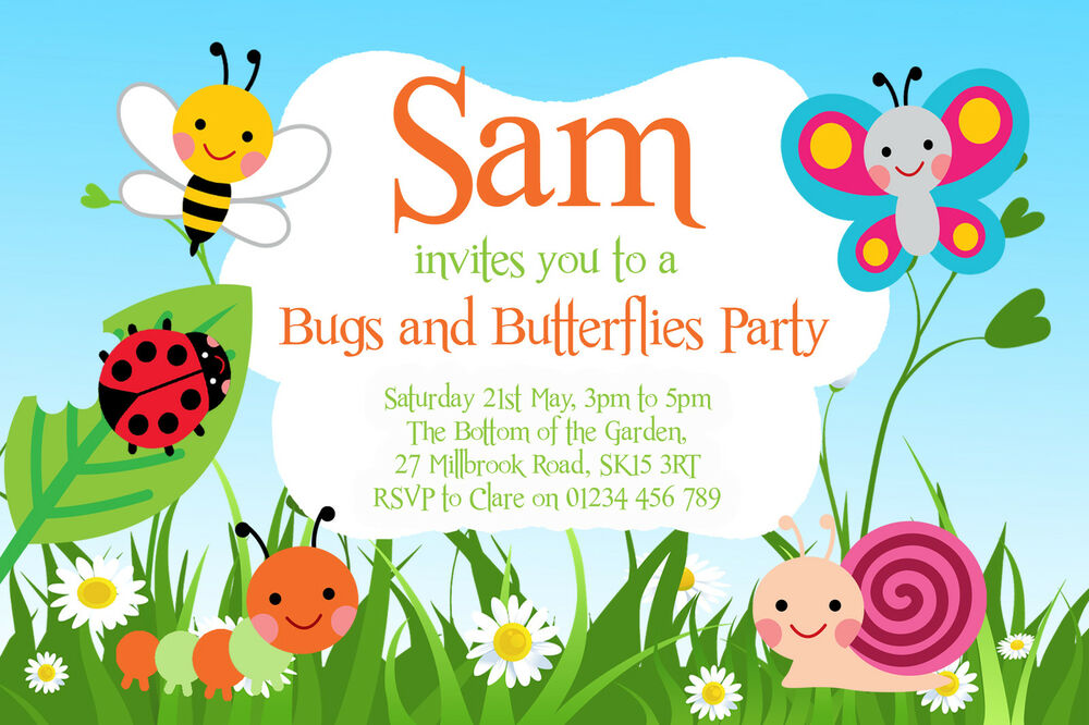 10 PERSONALISED BIRTHDAY INVITATIONS - GARDEN BUGS PARTY, BUTTERFLY ...