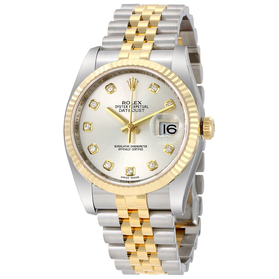 Rolex datejust silver diamond dial jubilee bracelet mens watch 116233sdj ebay for Diamond dial watch