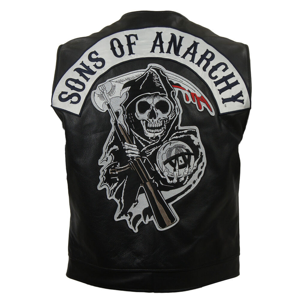 soa sons of anarchy biker leather vest ebay. Black Bedroom Furniture Sets. Home Design Ideas