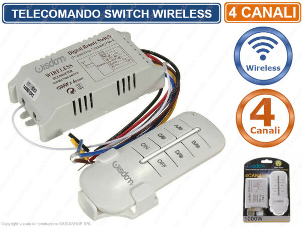 TELECOMANDO SWITCH 4 CANALI INTERRUTTORE PER LUCI WIRELESS 1000 WATT X 4 CANALI