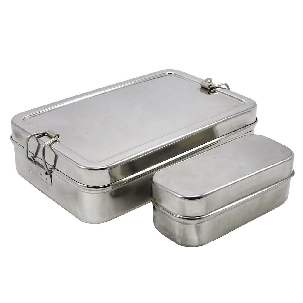 stainless steel rectangular school lunch box school tiffin picnic food container ebay. Black Bedroom Furniture Sets. Home Design Ideas