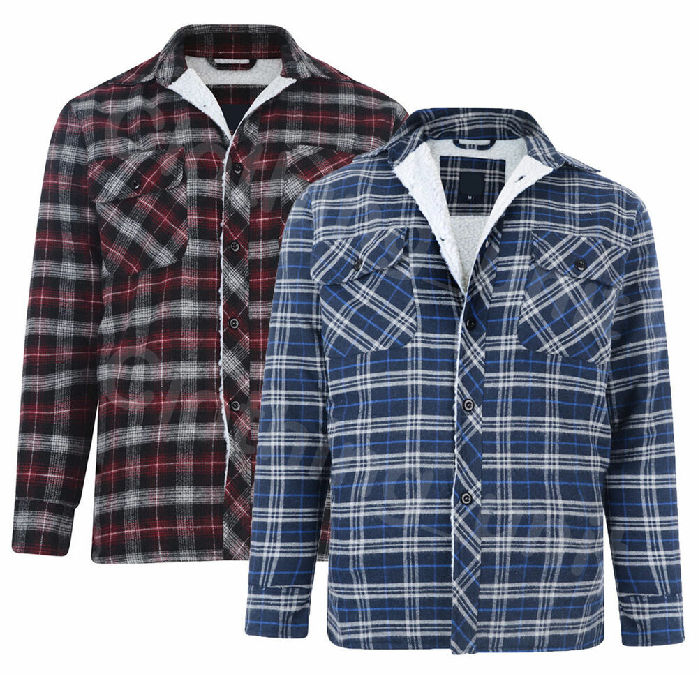 Mens padded quilted fur lined lumberjack check flannel for Mens padded lumberjack shirt