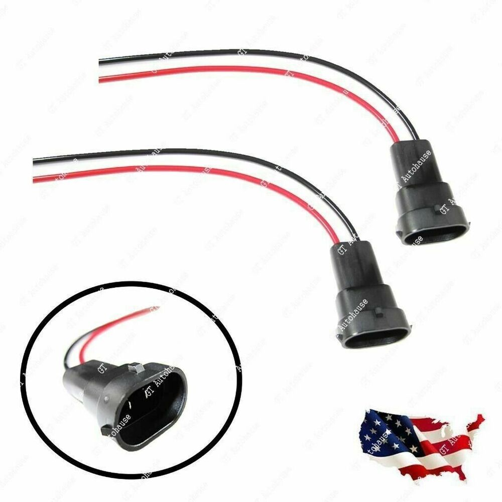 2pcs H11 880 Male Adapter Wiring Harness Sockets Wire