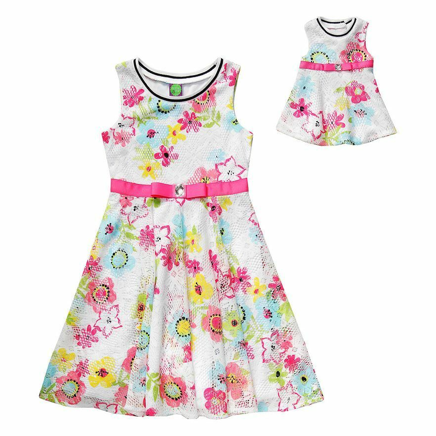 Dollie u0026 Me Girl 4-14 and Doll Matching Floral Skater Dress Outfit American Girl | eBay