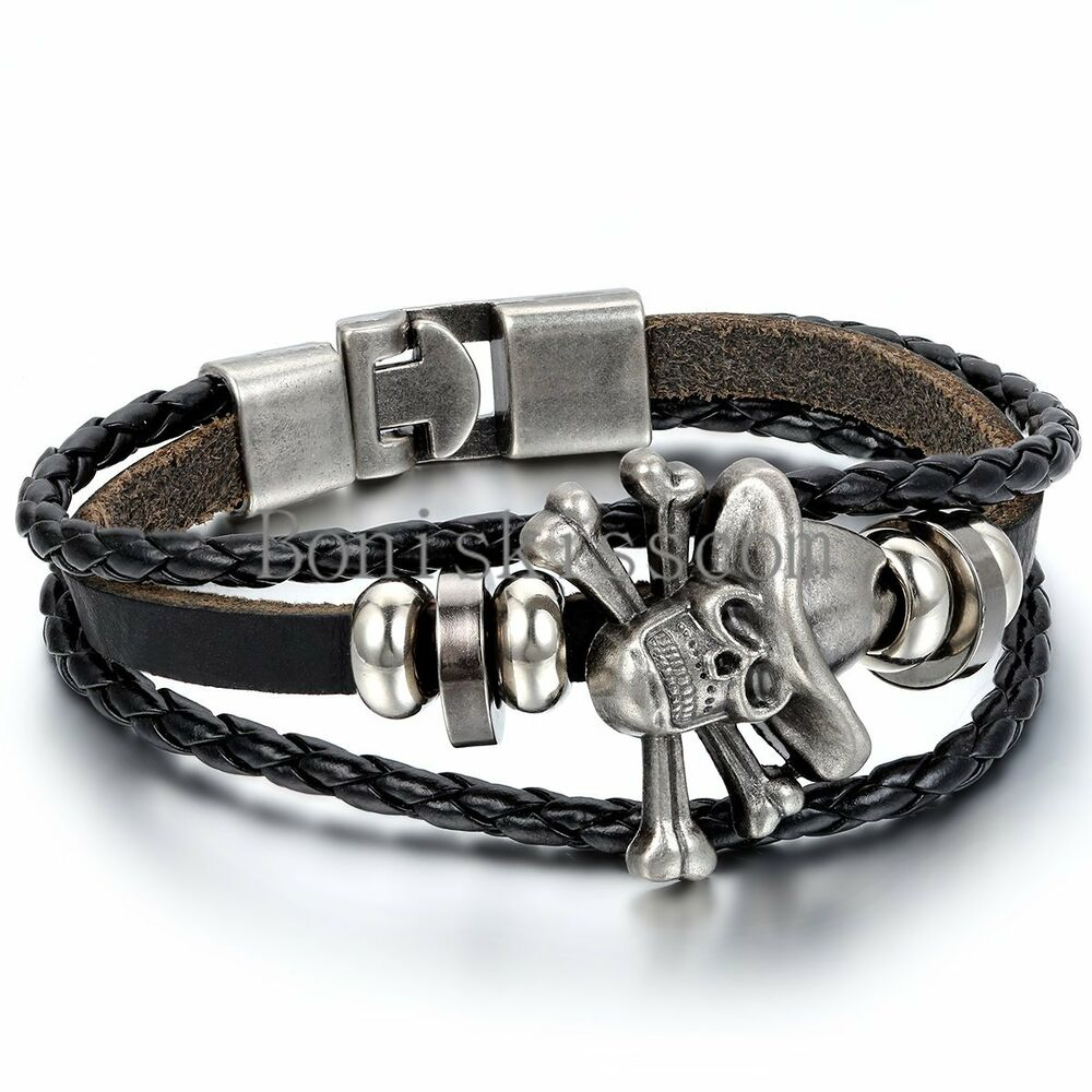 Leather Wrap Charm Bracelet: Men Women Skull Bone Charm Multi-layer Leather Wrap Cuff