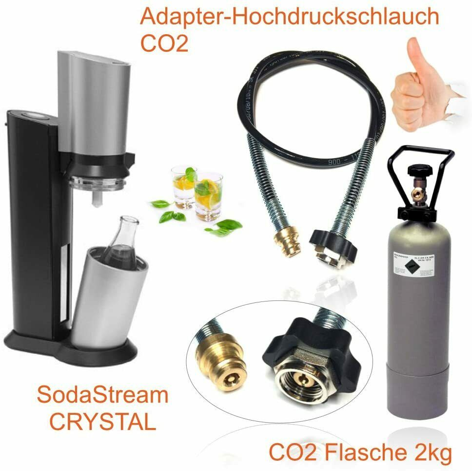 wassersprudler sodastream crystal co2 adapter 2kg eigentumsflasche co2 ebay. Black Bedroom Furniture Sets. Home Design Ideas