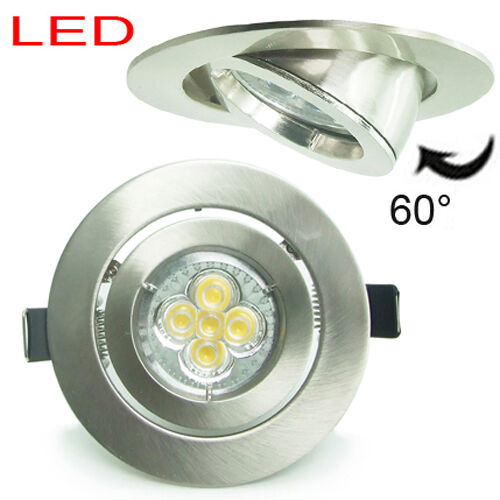 20x 5w 4 chrome nickel led recessed ceiling downlight kit spotl ight bulb gu10 ebay. Black Bedroom Furniture Sets. Home Design Ideas