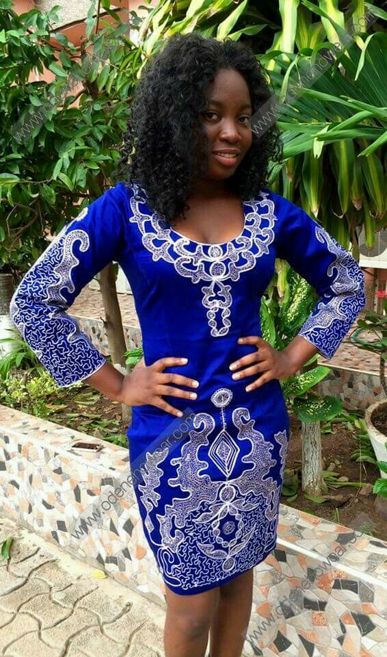 Odeneho Wear Ladies Blue Polished Cotton Dress/White Embroidery.African Clothing | EBay