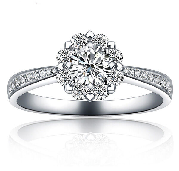 18k white gold filled with silver flower wedding bridal