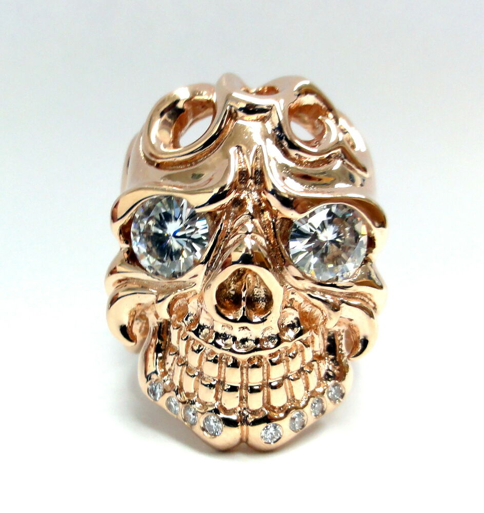 s 14k gold skull ring with white sapphire