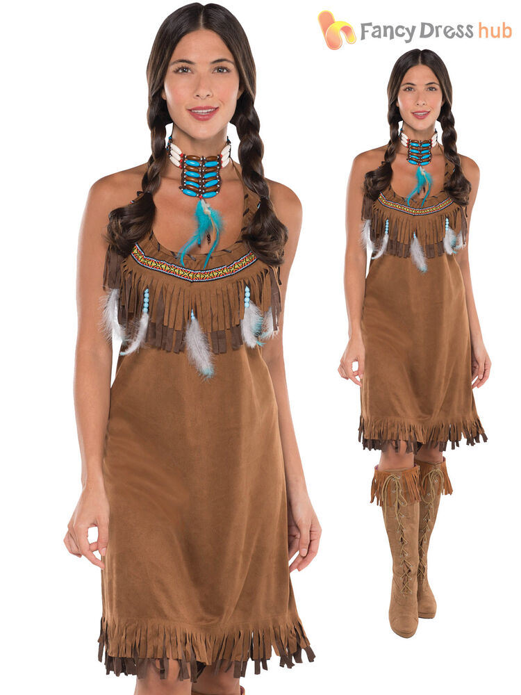 Ladies Red Indian Costume Adults Pocahontas Native