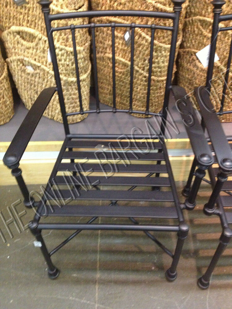 2 Pottery Barn Portsmouth Outdoor Patio Dining Table Arm Chairs Iron Bronze Ebay