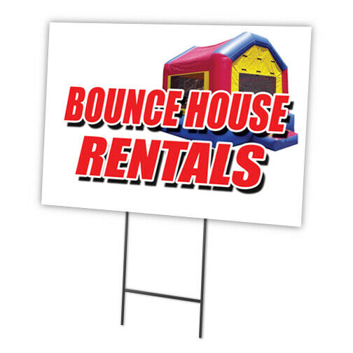 "Ebay Houses For Rent: BOUNCE HOUSE RENTALS 12""x16"" Yard Sign & Stake Outdoor"