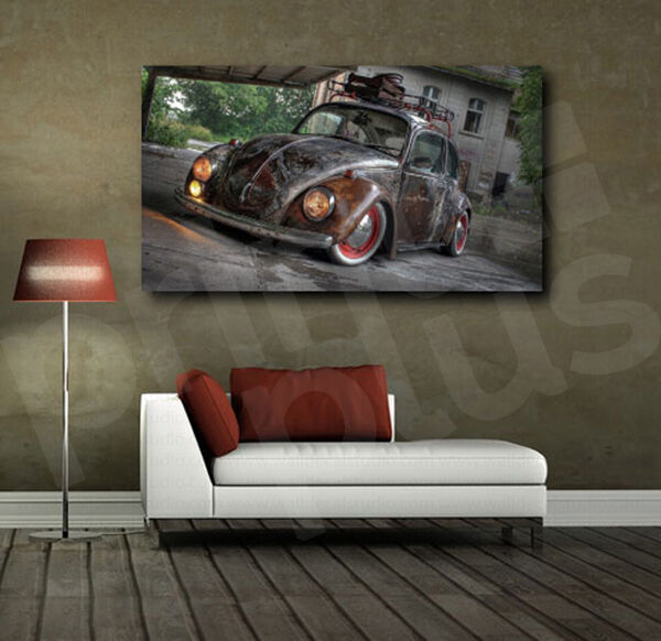 Vw Beetle Rusted Old Car Canvas Art Poster Print Home Wall