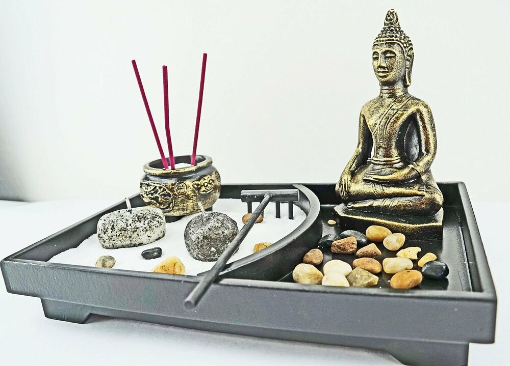 Zen garden kit tabletop decor meditation sand rocks for Table zen garden