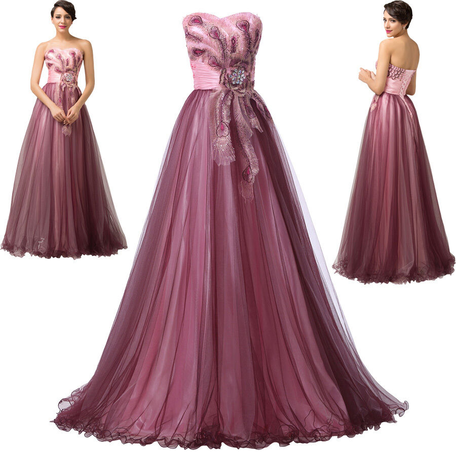 Formal wedding prom ball cocktail dress evening party gown for Long dresses for wedding party