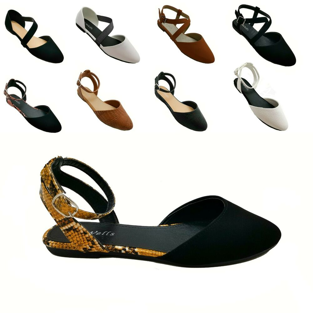 Details about New Women Mary Jane Ankle Strap Ballet Flats Criss Cross  Shoes Black