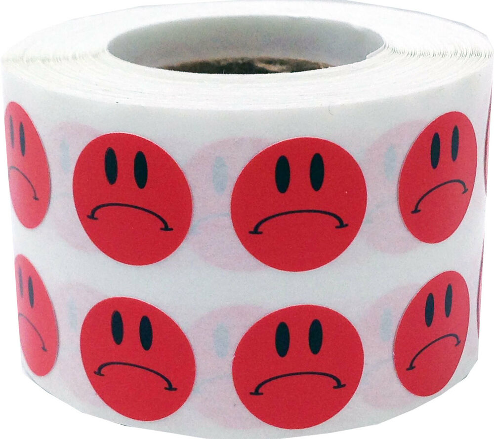 Red sad frowny face adhesive stickers 1 2 inch round for Half inch round labels