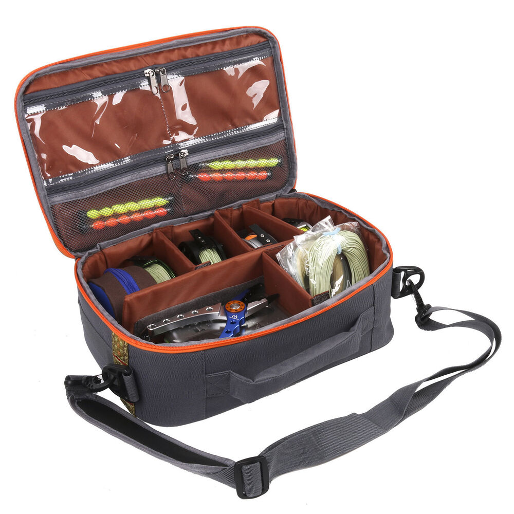 Fly fishing reel and gear bag reel case with 6 interior for Fly fishing bag