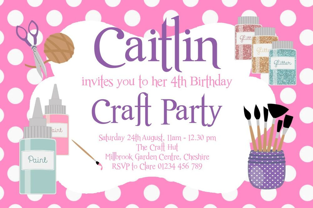 10 PERSONALISED CRAFT ART PARTY INVITATIONS