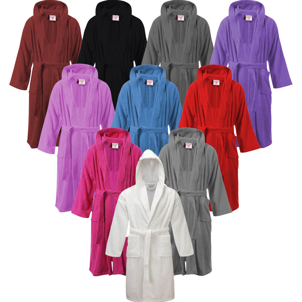 ladies mens womens 100 cotton hooded bath robe terry towelling dressing gown ebay. Black Bedroom Furniture Sets. Home Design Ideas