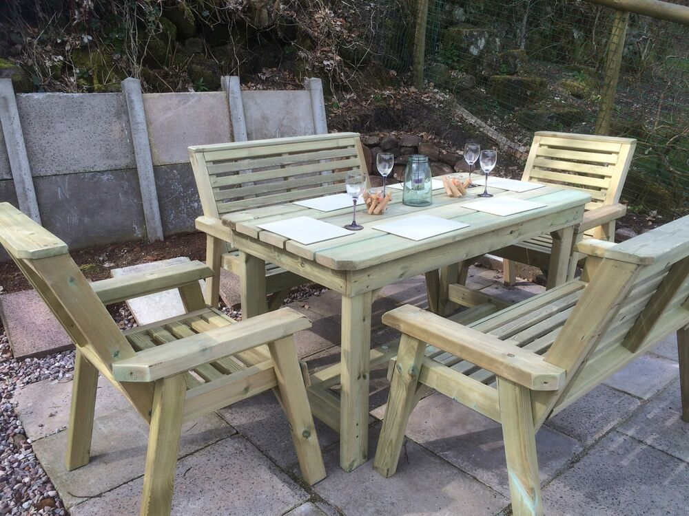 Wooden garden table and chairs bench set patio set solid furniture set pt 104 ebay - Garden furniture table and chairs ...