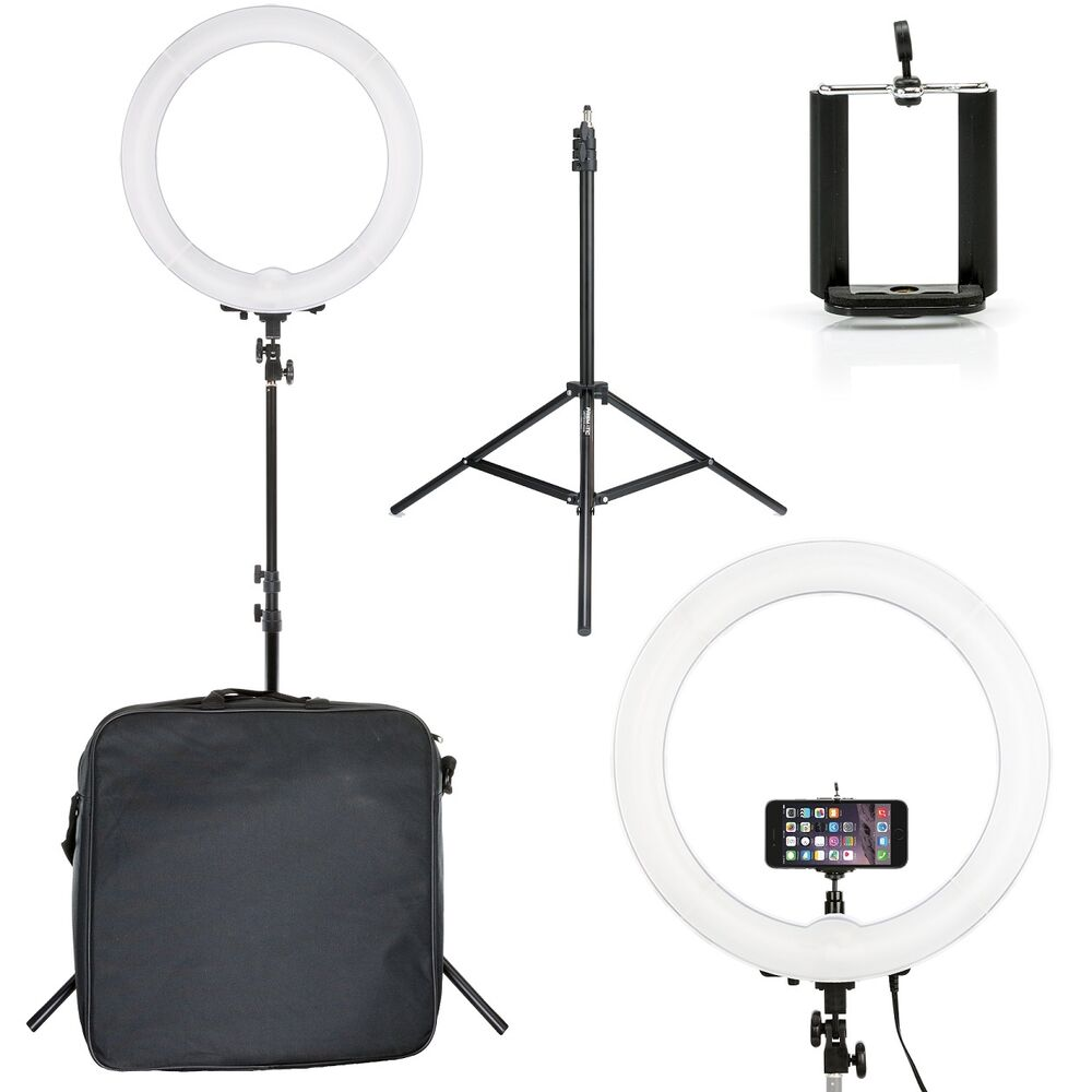"""Light Stand Organizer: Prismatic Halo 18"""" Ring Light EURO With Phone Holder & 6"""