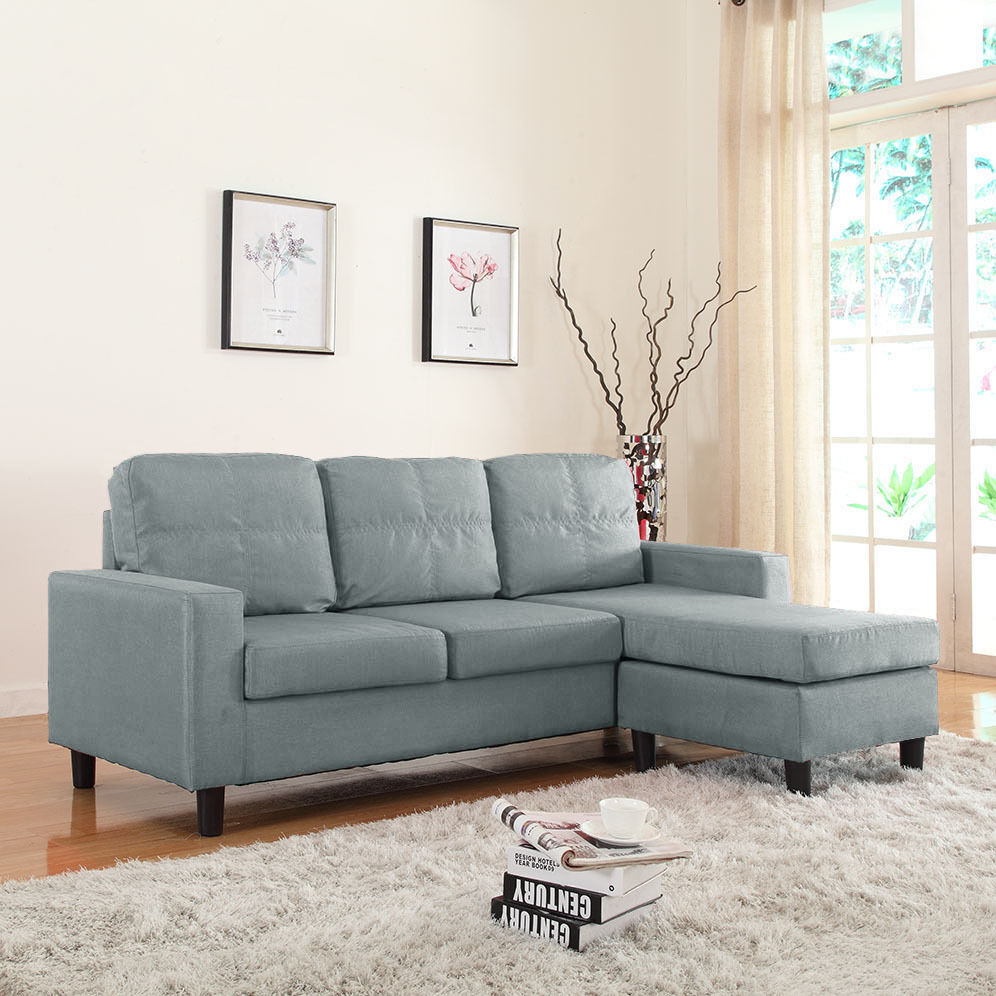 Modern Linen Fabric Light Grey Sectional Sofa Small Space