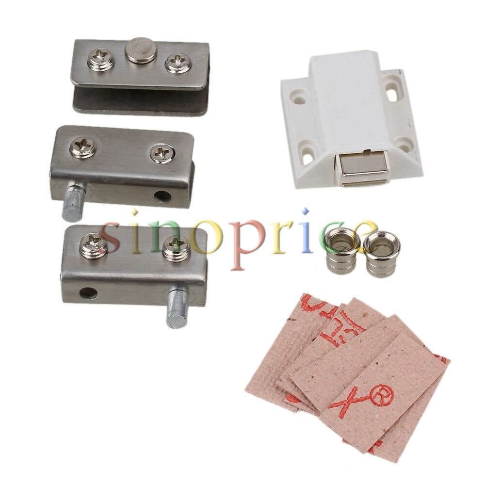 Silver tone glass pivot door cabinet lock hinge clamp kit for Glass cabinet hinges