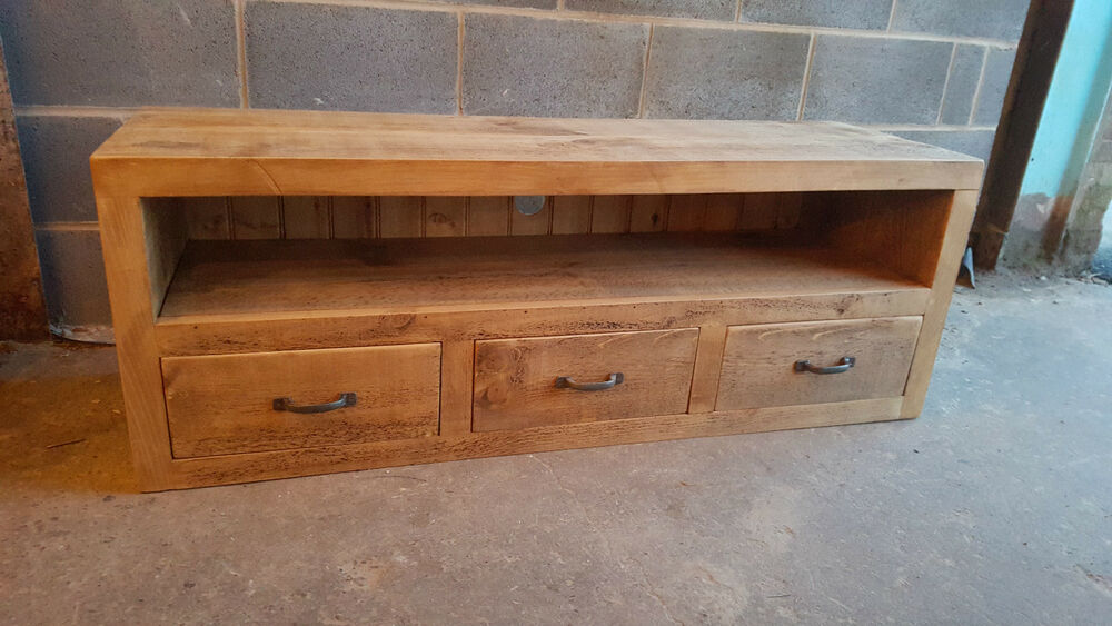 NEW SOLID WOOD RUSTIC CHUNKY PLANK TV UNIT WOODEN TV STAND
