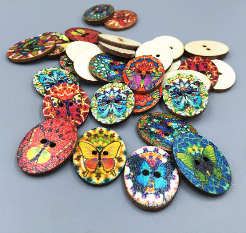 Vintage wooden buttons sewing oval butterfly craft for Butterflies for crafts and decoration