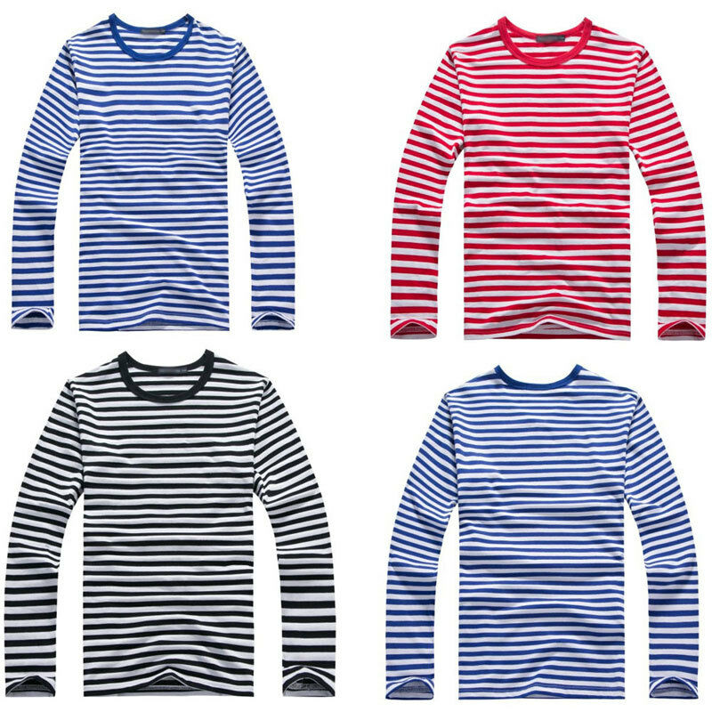 Mens Casual Long Sleeve Cotton Shirts Striped Military