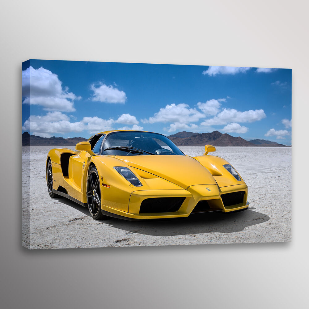 Yellow Ferrari Enzo Supercar Car Photo Automotive Wall Art
