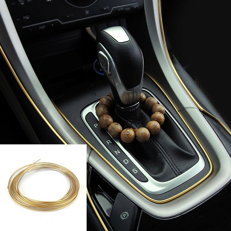 5m auto accessories car universal interior decorative gold line push in gap ebay. Black Bedroom Furniture Sets. Home Design Ideas
