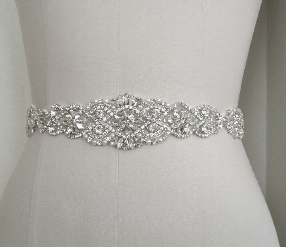 Wedding bridal sash belt crystal pearl wedding dress sash for Wedding dress belt sash