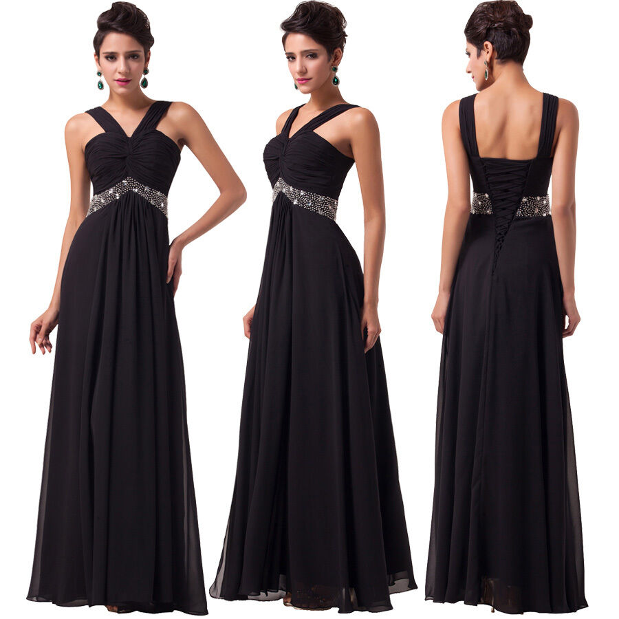 Black long chiffon formal wedding evening prom bridesmaid for Ebay wedding bridesmaid dresses