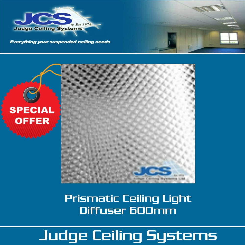 Suspended Ceiling Lights 600mm X 600mm : Box of prismatic diffusers panel clear mm