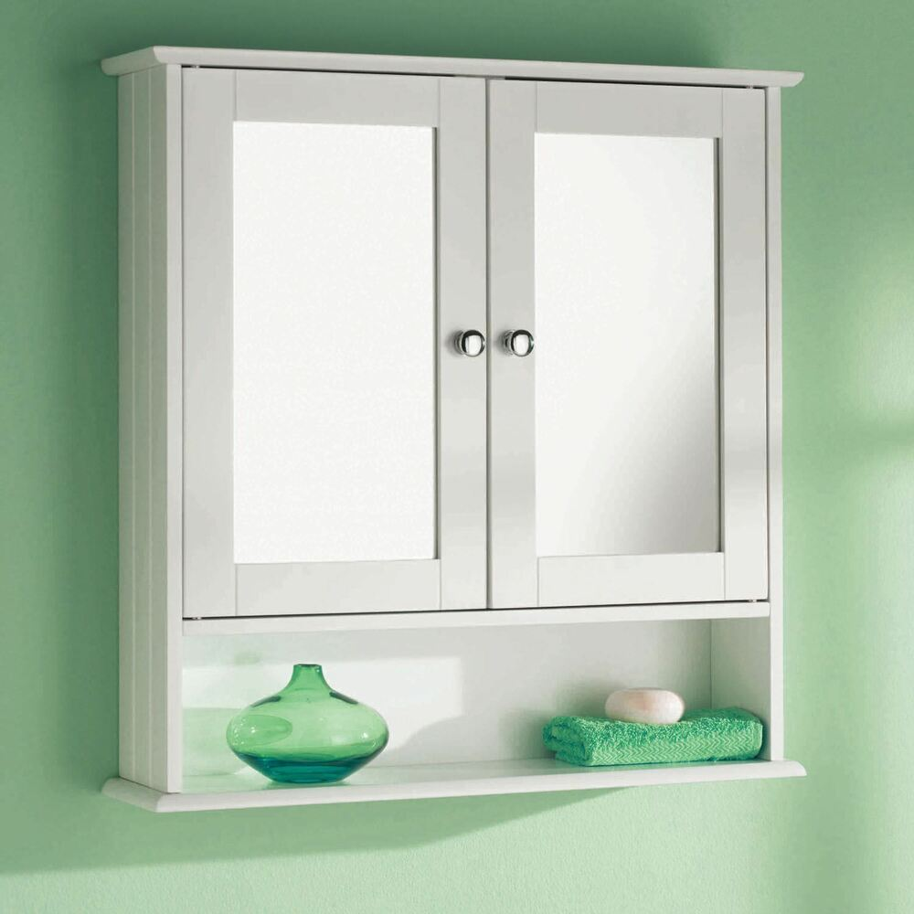 Double mirror door wooden indoor wall mountable bathroom cabinet shelf new ebay for Bathroom mirror cupboard