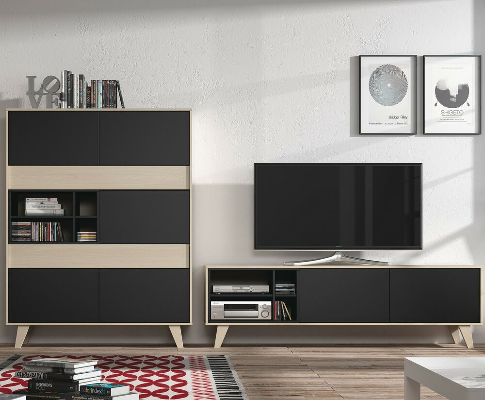 Agna Tv Unit Storage Cabinet Scandinavian Living Room Furniture Set Grey Oak Ebay