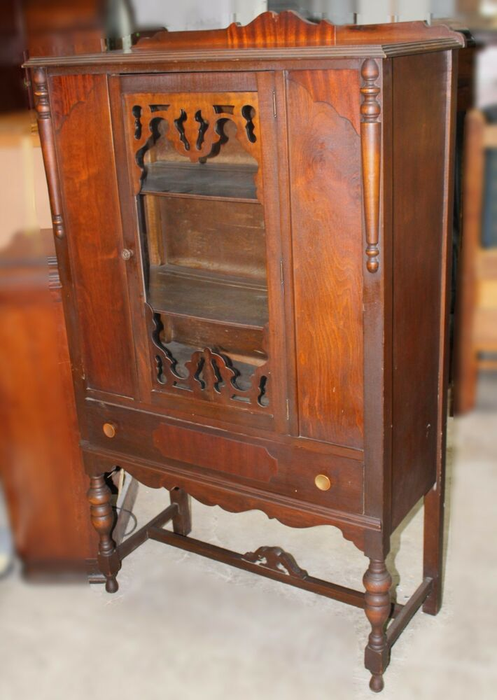 vintage jacobean style walnut china hutch ebay