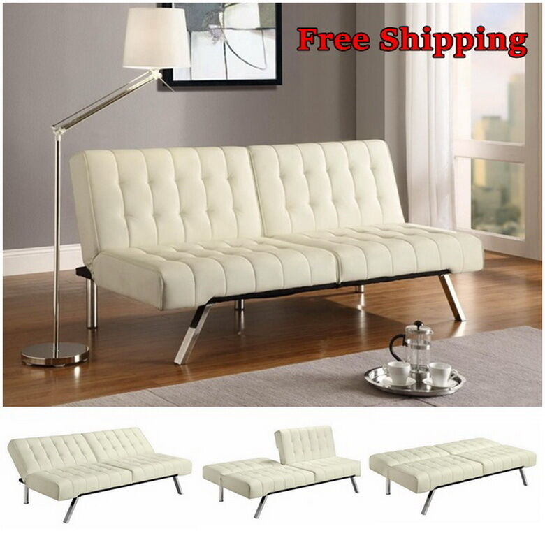 Leather Convertible Sofa Futon Couch Bed Chaise Sleeper