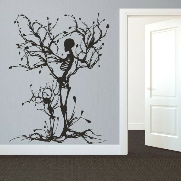 Halloween skeleton wall decal removable vinyl tree of life for Christmas wall mural plastic