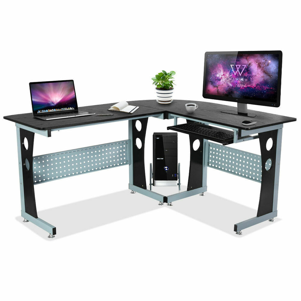 Costway wood l shape corner computer desk pc table for Table ordinateur