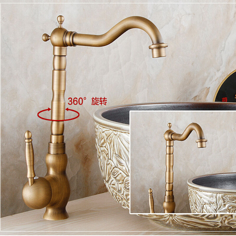 Swivel Spout Antique Brass Kitchen Faucet Single Handle