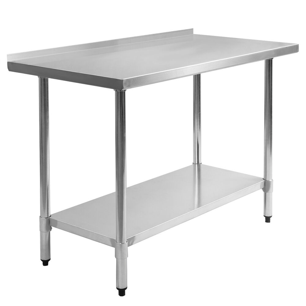 kitchen prep table 24 quot x 48 quot stainless steel work prep table with backsplash 13287