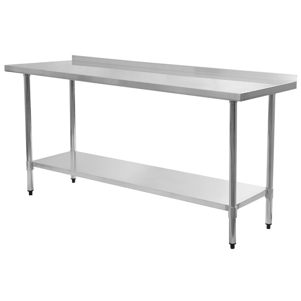 "24"" x 72"" Stainless Steel Work Prep Table with Backsplash"